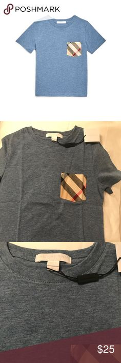 """Burberry boys' check pocket tee - slate blue 6Y Brand new with tags Boys' Burberry t-shirt. 100% authentic.  Color is """"slate blue"""" / light blue. Retail for $75, size 6Y Burberry Shirts & Tops Tees - Short Sleeve"""