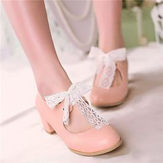 Girls' Shoes Casual Heels/Round Toe Pumps/Heels Blue/Pink/White