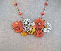 Orange Yellow Daisy Vintage brooch Collage necklace Shabby Chic OOAK Repurposed Vintage Jewelry