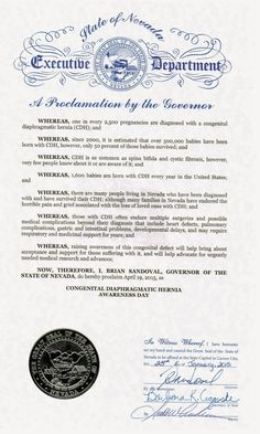 April is CDH Awareness Month - April 19th is Congenital Diaphragmatic Hernia Action Day: Nevada Proclaims April 19th, 2015 as Congenital Di...
