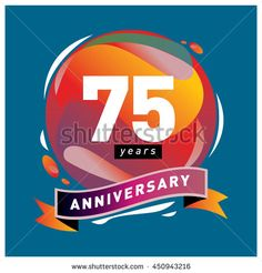 75th years greeting card anniversary with colorful number and frame. logo and icon with circle badge and background - stock vector