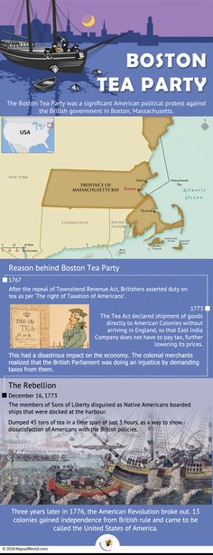 The Boston Tea Party, which occurred in the winter of 1773 was a significant American political protest against the British government in Boston, Massachusetts. Here is an infographic elaborating what led to the significant event of US history. History Memes, History Facts, World History, Boston Tea, British Government, My Family History, History Projects, Document, American Revolution
