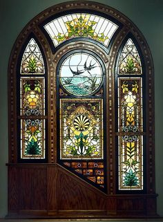 "Michigan Stained Glass Census: ""Swallows over lily pond"".  Horace Peck Home, Kalamazoo, Michigan                                                                                                                                                                                 More"