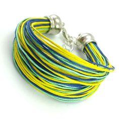 Bransoletka na bawełnianym, kolorowym sznurku jubilerskim ( żółty, kobalt, miętowy ) w minimalistycznym stylu. Garden Hose, Lens, Klance, Lentils