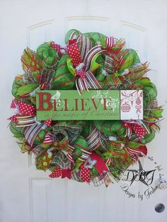 Believe Deco Mesh Christmas Wreath