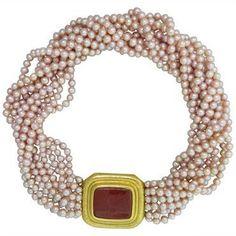 Elizabeth Locke Carnelian Intaglio Pearl Gold Torsade Necklace