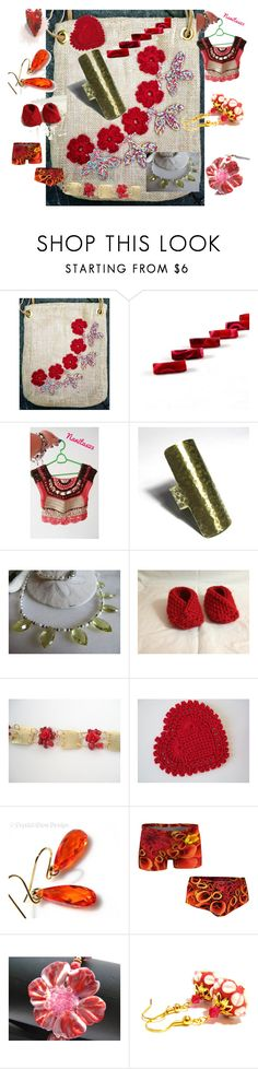 """""""With a Touch of Red"""" by anna-recycle ❤ liked on Polyvore featuring Cadeau, modern, rustic and vintage"""