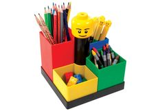 LEGO Stationery Art Carousel  Add a colorful dash of blocky fun to your desk with this organizer. It comes complete with LEGO crayons, pencils and erasers.