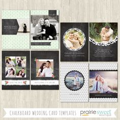 Prairie Sweet Boutique | Chalkboard Wedding Card Collection | Photoshop Templates for Photographers