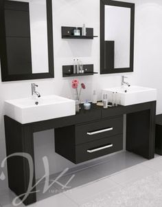 This is truly a unique vanity made exclusively by JWH Living that can fit any width between and in any configuration you can dream up. This stylish modern vanity exudes modern elegance in a way no other bathroom cabinet can. Eye-catching and Ada Bathroom, Bathroom Vanity Units, Bathroom Layout, Bathroom Interior, Classic Bathroom, Modern Bathroom, Hall Room Design, Vessel Sink Vanity, Vanity Set