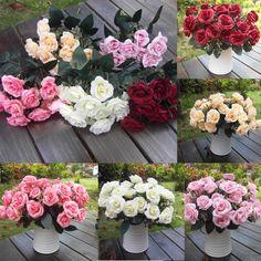New 12Heads Artificial Rose Silk Leaf Flower Home Wedding Bridal Bouquet Decor