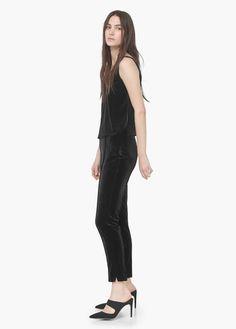 Pantalón diseño terciopelo | MANGO