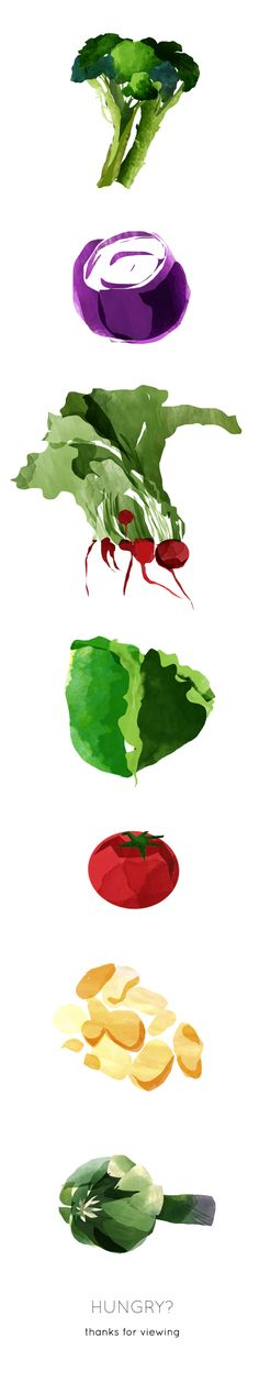 The Painted Vegetables Project by Amy Williams, via Behance ... not edible but yummy nonetheless!