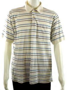 Men's Munsingwear Striped Short Sleeve Pocket Polo Shirt White Blue Size XL…