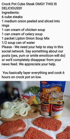 Crock Pot Food, Crockpot Dishes, Crock Pot Slow Cooker, Beef Dishes, Slow Cooker Recipes, Food Dishes, Crockpot Recipes, Cooking Recipes, Crock Pot Cube Steak