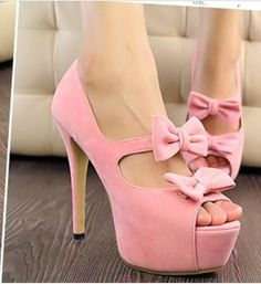 hot sell women's Stylish waterproof suede double bow open toe high heels