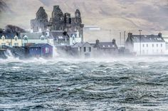 Storm Gertrude in Scalloway by Richard Ashbee. Shetland Times Calendar 2017