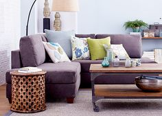 This is nice too-- purple couch with blue wall and pewter rug