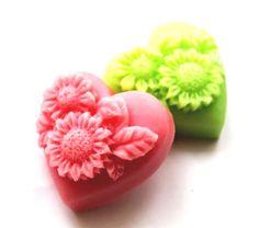 Homemade heart soaps