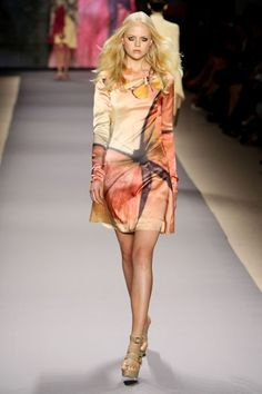 Wow talk about your cool orange and yellow runway  butterfly dress!