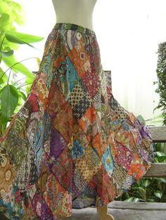 Handmade boho patchwork skirt- I'm feeling a bohemian theme for this summer. :-)