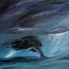 "Storm Tossed - 24"" x 24"" original acrylic painting - Dark, moody tree in thunderstorm"