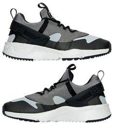 9dbf25b1cba Nike Air Huarache Utility Men s Textile Running Grey - Black - White  Authentic