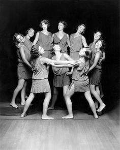 "Isadora Duncan Dancers, Ca. 1929.  Martha Graham is sometimes spoken of as the dancer who ""discovered the floor"" a claim which can also be made for Mary Wigman. But the discovery goes back to Isadora, with her insistence on the force of gravity as part of the dance."