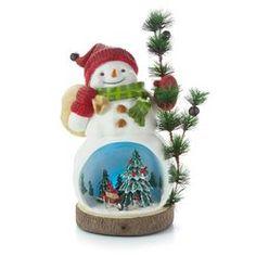 Woodland Snowman and Christmas Scene Figurine,