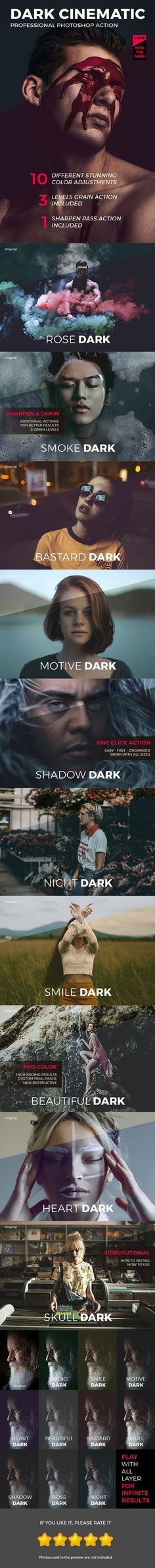 Dark Cinematic Photoshop Actions — Photoshop ATN #photo effect #effect • Available here ➝ https://graphicriver.net/item/dark-cinematic-photoshop-actions/20953562?ref=pxcr