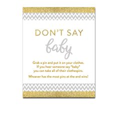 Baby Shower Gray Chevron Gold Glitter - Game Don't Say Baby - Instant Download Printable