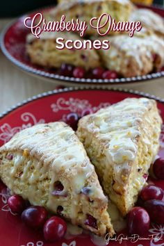 Cranberry Orange Scones – Great Grub, Delicious Treats Cranberry Orange Scones are super delicious. Loaded with fresh cranberries, orange zest and baked just right, these are great for breakfast, brunch or a snack. Brunch Recipes, Sweet Recipes, Dessert Recipes, Delicious Recipes, Cranberry Orange Scones, Orange Zest, Cranberry Cake, Strudel, Croissants