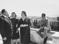 Prince Juan de Borbon, Count of Barcelona Don Juan de Bourbon (L), his wife Dona Maria Mercedes (center) and son Juan Carlos (R) standing on balcony. Barcelona, Bourbon, Don Juan, Portugal, The Past, Balcony, Count, Prince, Spain