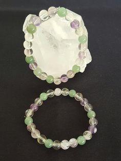 Genuine Rainbow Fluorite & Green Aventurine Bracelets by LunaValleyCrystals