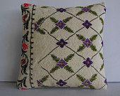HANDWOVEN cream floral pillow bohemian pillow case flower pillow cover turkish kilim pillow sham ethnic cushion cream kilim pillow sham 6791