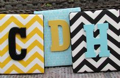 Wall Letters, 8x10,Chevron Letters, Aqua Ikat, Turquoise, Black Chevon, Painted Letters, Wood Letters, Personalized, Monogram. $21.99, via Etsy.