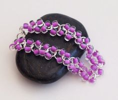 Lavender Beaded Silver Cable Chainmaille Bracelet - Beaded Chainmaille Bracelet - Beaded Chainmail Bracelet - Chain Mail Bracelet