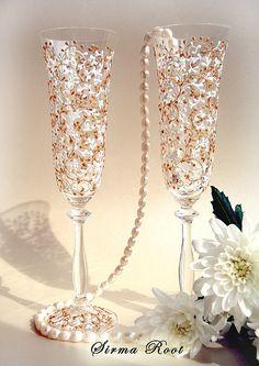 """Купить Свадебные бокалы """"Версаль"""" - свадебные бокалы, свадьба, богемское стекло, чешское стекло"""