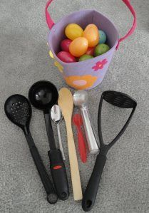 Balancing with Easter Eggs - taken from A mom with a lesson plan