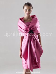 Chinese 2011 Style Sheath / Column Square Knee-length Satin Bridesmaid/ Wedding Party Dress With A Wrap Mom Dress, Dress With Bow, Wrap Dress, Dress Up, Cheap Bridesmaid Dresses Online, Dresses For Sale, Satin Dresses, Gowns, Mothers Dresses