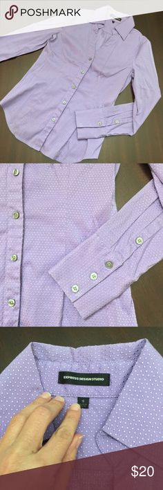 EXPRESS Dress Shirt EXPRESS button up dress shirt. Perfect to dress up for work with dress pants or skirt! Purple with embroidered polka dots of same color gives texture. Grey buttons. Size small. No flaws and in perfect condition. Dry cleaned for gentle care, so is ready to wear after little steam or light press to get wrinkles out. Make me an offer or ask about bundling! Express Tops Button Down Shirts
