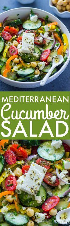 Mediterranean Cucumber Chickpea Salad (Video)