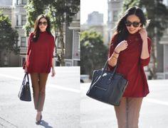 Sweater - Zara (recent sale purchase)  Trousers - Zara  Ring - H&M (similar here)  Bracelets - CC Skye (courtesy of Yishike) and Bulgari (courtesy of Vogue Influencer Network)  Heels - Chloe (similar here in beautiful navy)  Purse - Celine  Sunglasses - D&G (courtesy of Sunglass Hut)