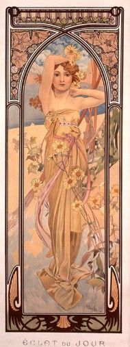 Alphonse Mucha The Times Of Day Brightness Of Day, , . Read more about the symbolism and interpretation of The Times Of Day Brightness Of Day by Alphonse Mucha. Mucha Art Nouveau, Alphonse Mucha Art, Art Nouveau Poster, Mucha Artist, Art And Illustration, Vintage Posters, Vintage Art, Art Posters, Food Posters