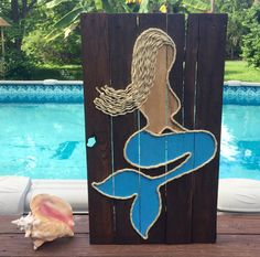 Handmade Mermaid With Rope Beach Pallet Art by BeachByDesignCo on Etsy https://www.etsy.com/listing/211941513/handmade-mermaid-with-rope-beach-pallet