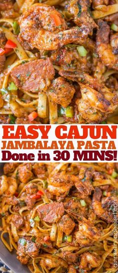Easy Cajun Jambalaya Pasta with chicken, sausage and shrimp and all the delicious deep Louisiana flavor in just 30 minutes! Easy Cajun Jambalaya Pasta with chicken, sausage and shrimp and all the delicious deep Louisiana flavor in just 30 minutes! Cajun Jambalaya Pasta, Cajun Shrimp And Chicken Pasta Recipe, Jumbalaya Pasta, Cajun Seafood Pasta, Jumbalaya Recipe, Chicken And Sausage Jambalaya, Seafood Gumbo, Cajun Dishes, Chicken Pasta