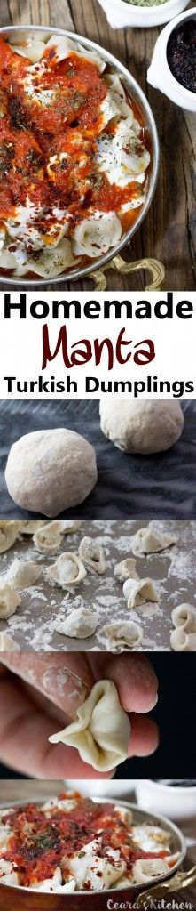 "Homemade Manti (Traditional Turkish Dumplings) make a delicious, comforting & filling meal. Homemade dough is stuffed with mushroom meat stuffing, cooked and served with a garlic-tomato sauce, yogurt sauce and spicy ""butter"" sauce! #Vegan #Dinner #MeatlessMonday"
