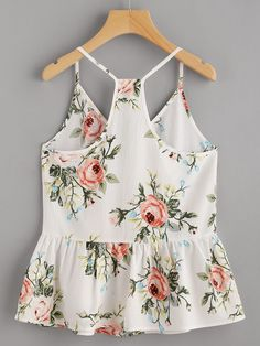 To find out about the Rose Cluster Print Peplum Racerback Cami Top at SHEIN, part of our latest Tank Tops & Camis ready to shop online today! Cami Tops, Girl Fashion, Fashion Outfits, Womens Fashion, Summer Outfits, Cute Outfits, Ladies Dress Design, Passion For Fashion, Ideias Fashion