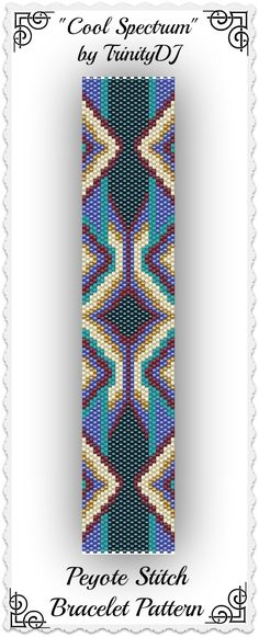 "New pattern listed in my Etsy shop: ""Cool Spectrum"" - Odd Count Peyote Stitch Bracelet Pattern - One of A Kind In The Raw Design. Please follow this link for more info: https://www.etsy.com/listing/172460402/bp-ab-130-cool-spectrum-odd-count-peyote"