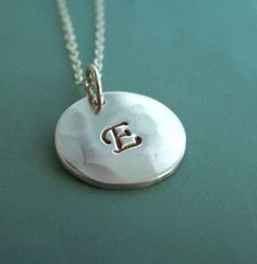 "Hand Stamped Initial Necklace  Sterling Silver 1/2"" by esdesigns"